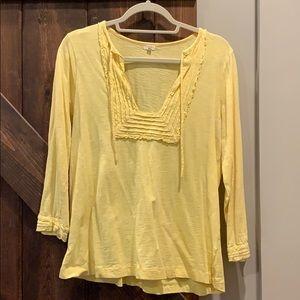Women's JCrew long sleeved shirt top yellow